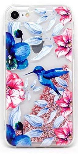 Funda Rosa Agua Colibri Azul Pajaro Carcasa con Purpurina Brillante escarchada TPU Silicona con liquido Interior para Apple iPhone 5 5S