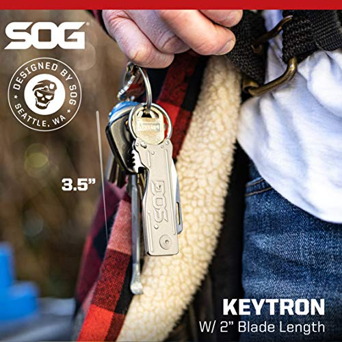 SOG Keychain Pocket Knife with Bottle Opener Keychain Ring - Keytron EDC Keychain Knife with 1.8 Inch Folding Knife