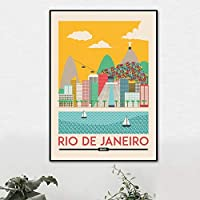 家の装飾ポスターウォールアートリオデジャネイロブラジルスカイライントラベルキャンバスプリントリビングルームの絵画写真50X70cm20x28inchフレームなし