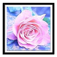 子供のための番号キットによる5Dダイヤモンド絵画 ビーズ付きキッズ5Dダイヤモンド刺繡のためのアート ピンクのバラ(30x40)CM