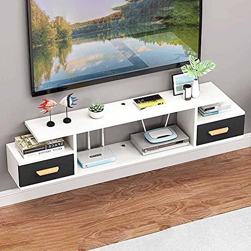 Mueble de TV Flotante, Mueble TV de Pared Unidad de TV Flotante, Consola de TV Colgante para Decodificadores de Cable Enrutadores Reproductores de DVD/D / 100cm