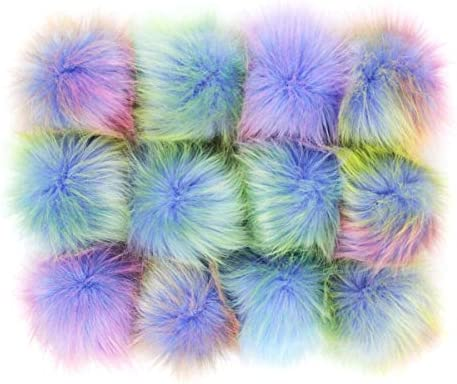 DIY 12pcs Faux Fox Fur Fluffy Pompom Ball for Hats Shoes Scarves Bag Charms Rainbow product image