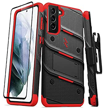 ZIZO Bolt Series for Galaxy S21 Plus Case with Screen Protector Kickstand Holster Lanyard - Black & Red