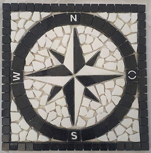 Granit Rosone 30x30 cm für Draußen Windrose Mosaik Star Galaxy Schwarz Weiss 065