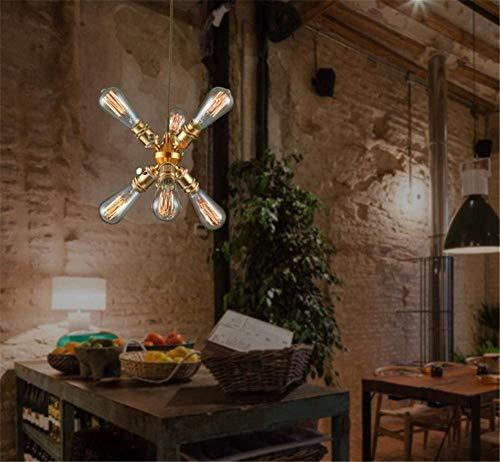 Hanglamp industriële stijl metaal glas kroonluchter vintage restaurant koffie winkel met zuiver koper smeedijzeren kroonluchter