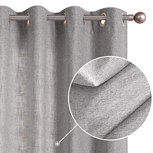 JINCHAN Grey Linen Textured Curtains for Living Room Burlap Light Filtering Window Treatment Set for Bedroom 63 Inches Long Farmhouse Flax Drapes 2 Panels Grommets Top Gray