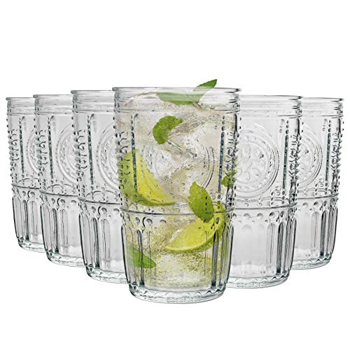 Bormioli Rocco Romantique Ridged Highball Verres à Cocktail Set - 475ml - Paquet de 24