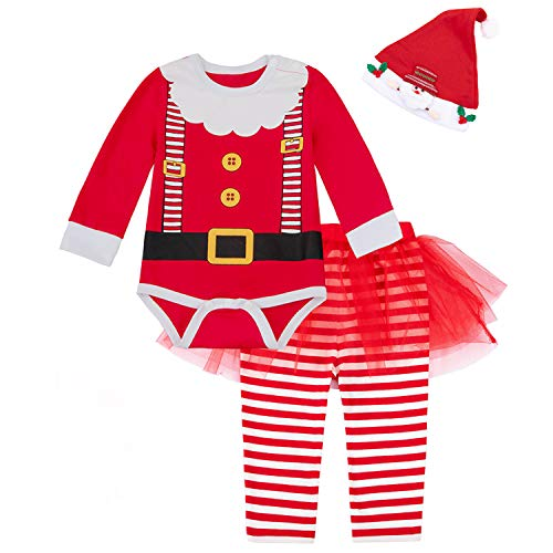 Baby Girls Newborn 1st Christmas Costume Tutu Dress Santa Claus Outfit Set (3-6 Months, Red)