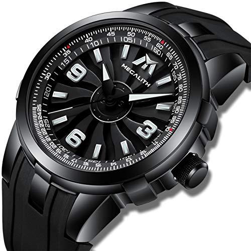 MEGALITH Herenhorloges Heren Militair Waterdicht Grote Draaiende Wijzerplaat Zwart Rubberen Polshorloge Sportkleding Modieuze Analoge Horloges voor Heren