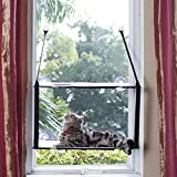 L.S Cat Window Perch Cat Window Hammock Large Kitties Sunny Bed Up to 55lb Stable Metal Frame Cat Face Hammock Perfect with a Warming Bed (Double layers, Grey)