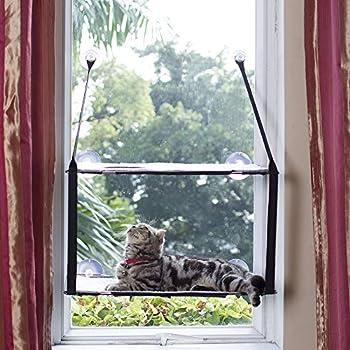 L.S Hamac Chat Fenetre Lit Chat Fenêtre Hamac Jusqu'à 25kg Cadre Métallique Dtable Tapis Doux Minou Ensoleillé Perch Chat Visage (Double Couches, Gris)