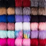 SIQUK 36 Pieces Faux Fur Pompom Balls DIY Faux Fox Fur Fluffy Pompoms with Elastic Loop for Hats Scarves Gloves Bags Accessories(18 Bright Colors, 2 Pcs for Each Color)