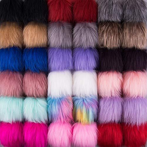 SIQUK 36 Pieces Faux Fur Pom Pom Balls DIY Faux Fox Fur Fluffy Pom Pom with Elastic Loop for Hats Scarves Gloves Bags Accessories(18 Bright Colors, 2 Pcs for Each Color)