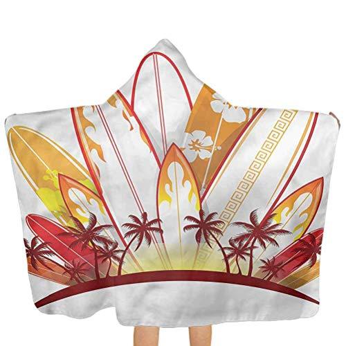 ZHSL Badetücher mit Kapuze Surfbrett, Tropical Island Sunset Swim Pool Coverup Poncho Cape Verwendung für Bad/Pool/Strand Swim Coverups 51.5x31.8 Zoll