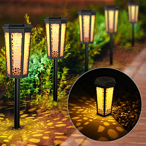 Fudosa Solar Pathway Lights Outdoor, Solar Powered LED Landscape Lights IP65 Waterproof Garden Lamps for Yard Lawn Patio Walkway 6 Pack