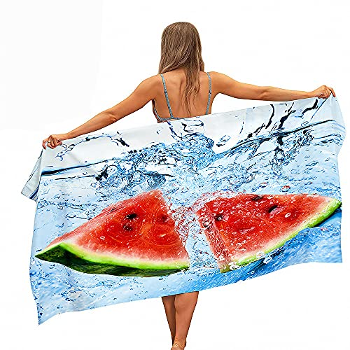 Grande Toallas Playa Toallas Baño Absorción Agua Secado Rápido Microfibra XL XXL 3D Fruta Sandía Tema Toalla Manta Natación Spa Viajes Yoga Deporte Camping Tumbona o Ducha (Color2,150x200cm)