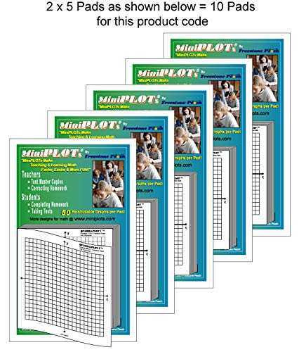 """MiniPLOT adhesive backed Graph Paper for Algebra: Ten count - 3"""" x 3"""" pads - X Y axis coordinate grid templates printed on Post-It pads. 50 graphs per pad. Grid = 20x20 units. Use for homework!"""