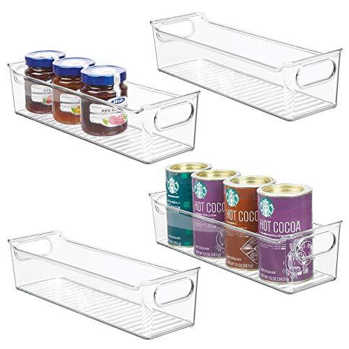 mDesign 4er-Set Aufbewahrungsbox für die Küche – stapelbare Kühlschrankkorb aus Kunststoff – Kühlschrankbox für Milchprodukte, Obst und andere Lebensmittel – durchsichtig