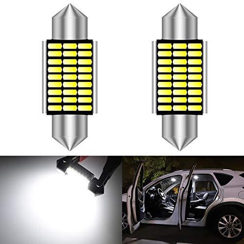 KATUR 36mm Festoon C5W LED Ampoules 6000K lumière Blanche Canbus sans Erreur pour 6418 6461 6486X éclairage de Porte de Plaque d'immatriculation intérieure (2pcs, Blanc)
