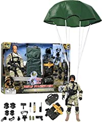 Military action packed pretend play set made of Super strong, superior quality BPA free plastic material, with authentic, highly detailed design with uniforms & accessories. Set includes; 1 paratrooper figure with clothes and dog tag, parachute backp...