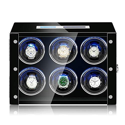 ZNND Watch Watch Winder Box,Estuche para Relojes, Relojes Automáticos,15 Modos Diferentes Rotación,Gran Ventanilla Transparente, Gira Ambas Direcciones (Size : 6+0)