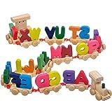1 Trenino Lettera Treno di legno della lettera di alfabeto treno ABC del pavimento del treno puzzle di legno Set giocattolo educativo per i bambini in età prescolare