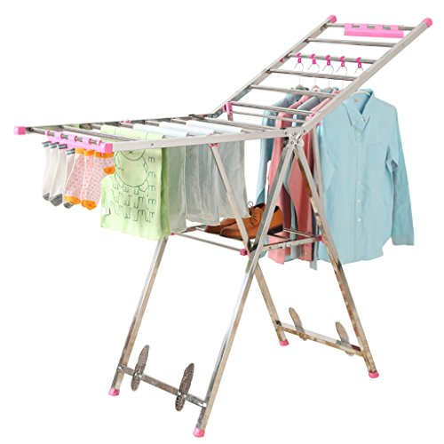 Supports pliants, supports de séchage de vêtements, supports de balcon, supports de vêtements d'intérieur et d'extérieur ( Couleur : Rose )