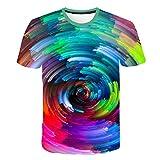 Camiseta Hombre 3D Camisetas de Manga Corta Divertidas Camiseta de Moda para Hombre, impresión en túnel Espacial 3XL