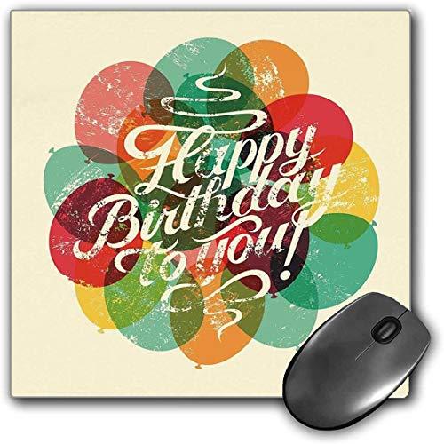 Mauspad-Spielfunktion Geburtstagsdekorationen Dicke wasserdichte Desktop-Mausmatte Typografische Retro Grunge Geburtstagskarte inspiriert Vintage Ballons,Multicolorrutschfeste Gummibasis