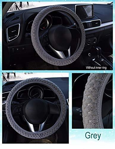 CHENDX Cubierta Universal del Volante del automóvil Invierno Carro del Volante Protector de Volantes Suaves Cubiertas de Peluche Caliente Accesorios de automóviles (Color : Gray, Size : Free)