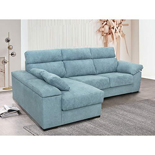 Chaiselongue Izquierda con Estructura de Pino Macizo, Confortable, Modelo SOFÍA tapizado en Tela Azul Claro
