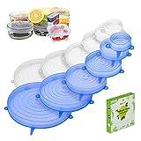 BYS - 12 tapas de silicona sin BPA, tapas de silicona reutilizables para alimentos, 6 tamaños extensibles, flexibles para microondas, horno, frigo, lavavajillas