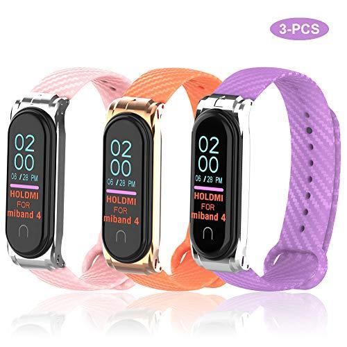 Sycreek Kompatibel für Xiaomi Band 4 Armband Carbon Ersatzarmband Silikon Miband 3 Uhrenarmband NFC Farbdisplay Sportarmband für Miband 4/3