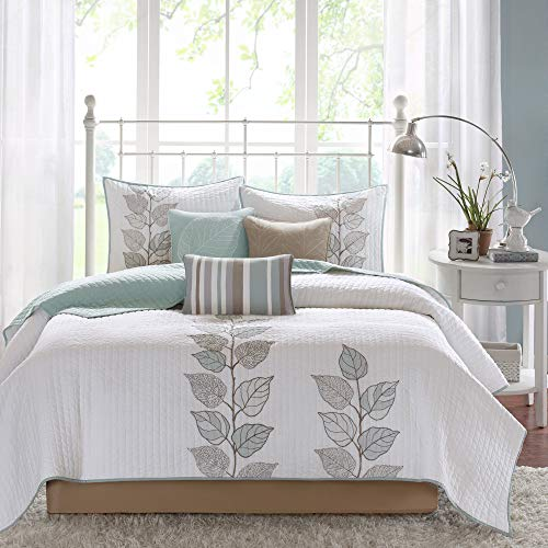 "Madison Park Quilt Modern Classic Design All Season, Breathable Coverlet Bedspread Lightweight Bedding Set, Matching Shams, Decorative Pillow, Full/Queen(90""x90""), Caelie, Leaf Blue, 6 Piece"