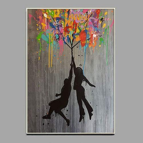 Pster de Graffiti de nia Cuadro de Arte de Pared para Sala de Estar decoracin del hogar Arte Callejero Moderno Globo de Banksy 50x70cm Pintura en Lienzo sin Marco