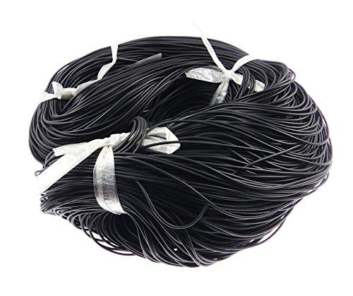 Perlin 10m Gummiband 2mm Kautschukband Kautschukschnur Schwarz Farbe, R& Form, Kunstleder Band, Schmuckband
