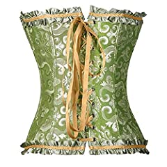 THEE Women's Gothic Bustiers Corsets Satin Boned Lace Up Overbust Lingerie , Green, XL #1