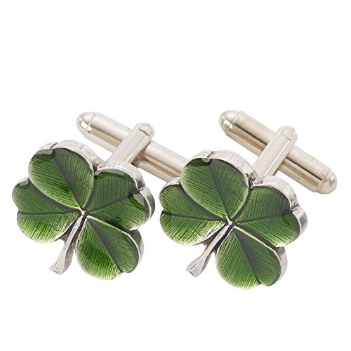 Danforth - Cufflinks - Clover (Green) - Pewter - Handcrafted - Made in USA