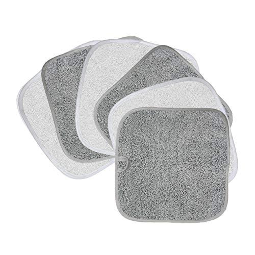 Polyte - Premium-Abschminktuch aus Mikrofaser - hypoallergen & frei von Chemikalien - 6 Stück (20x20 cm, Grau & Weiß)