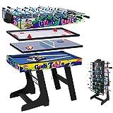 hj 4 en 1 Mesa de Juegos Multisport Combo Mesa de Billar / Hockey / Mesa de Ping-Pong / Futbolín...