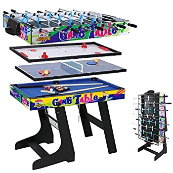Multi Function 4 in 1 Combo Game Table Soccer Foosball Table Pool Table Air Hockey Table Table Tennis Table with Folding Legs,48 inch  Yellow