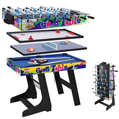 hj 4 en 1 Mesa de Juegos Multisport Combo Mesa de Billar / Hockey / Mesa de Ping-Pong / Futbolín con Patas Plegables 4 Pies Negro