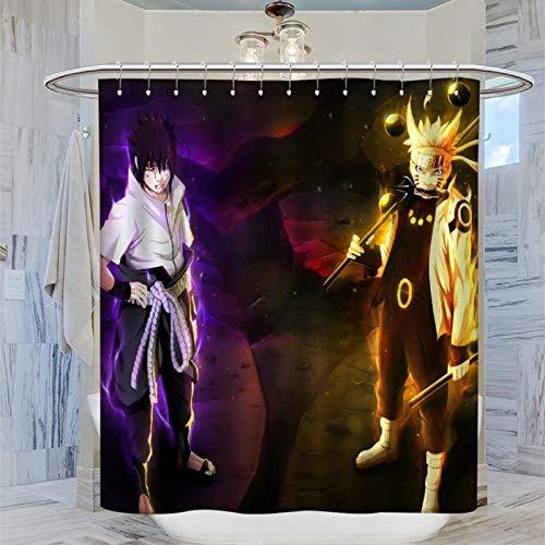 SSKJTC Moderner Badezimmer-Vorhang Naruto Manga Anime Polyester-Stoff Badvorhänge 183 x 183 cm
