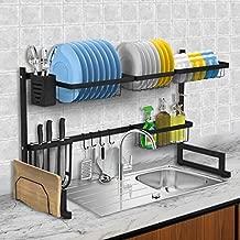 Over The Sink Dish Drying Rack, KINGSO 2 Tier Dish Rack Holder Stainless Steel Kitchen Non-Slip Dish Drying Drainer Rack w/Utensil Holder Hooks for Kitchen Counter Organization Storage Space Saver