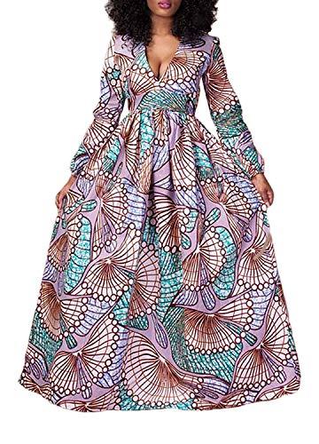 Liliam Women's African Print Dress Dashiki V-Neck High Waist Party Cocktail Maxi Dress(Print B) L