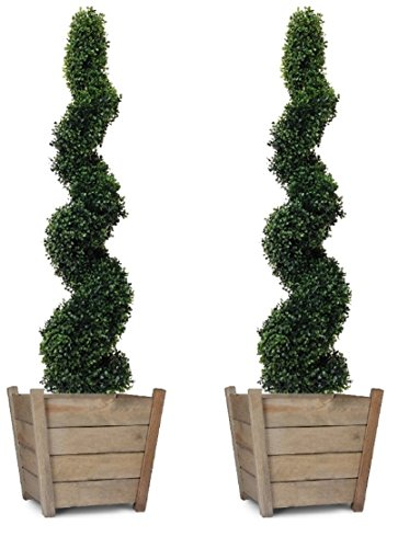 Artificial Spiral Boxwood Topiary Trees 4ft/120cm - BEST Quality (Set of 2)
