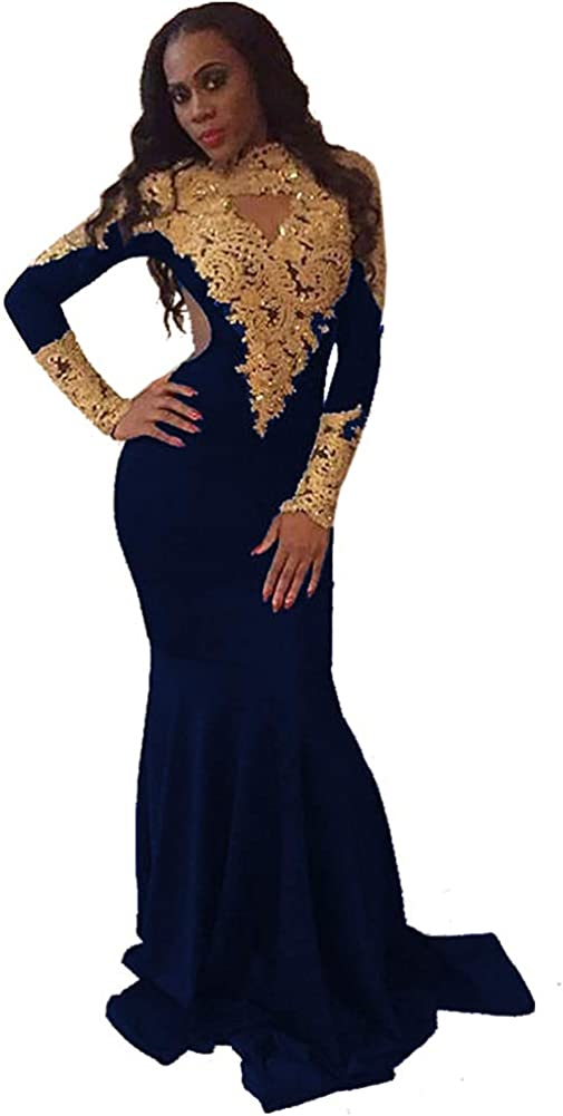 FndMeeii Women's Mermaid Gold Appliques Long Sleeve Keyhole Open Back Prom Dresses Gowns with Train