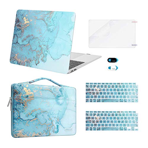 MOSISO Compatible with MacBook Air 13 inch Case 2020 2019 2018 A2337 M1 A2179 A1932 Retina, Plastic Watercolor Marble Hard Shell Case&Sleeve Bag&Keyboard Skin&Webcam Cover&Screen Protector, Turquoise