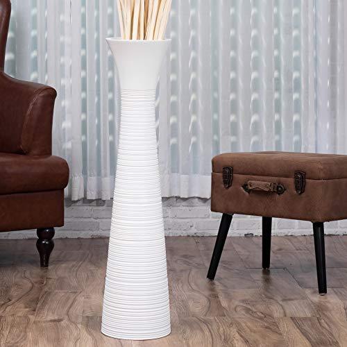 LEEWADEE Grande Vaso da Terra: Vaso Alto, Elemento Decorativo Fatto a Mano in Legno di Mango, Vaso per Rami Decorativi, 90 cm, Bianco