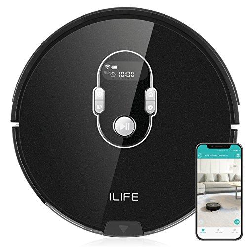ILIFE A7 Saugroboter mit App Steuerung | WLAN | Fallschutz | automatischer Staubsauger Roboter mit Ladestation | ideal für Hartböden wie Laminat etc | Leise | 600ml Staubtank | LCD Display, schwarz